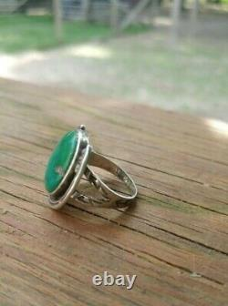 Early Vintage Turquoise Silver Horseshoe Ring