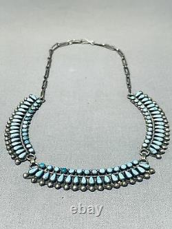 Early Vintage Zuni Blue Gem Turquoise Petit Point Sterling Silver Necklace