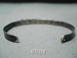 Early Vintage Zuni Blue Gem Turquoise Sterling Silver Bracelet