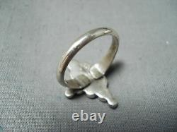Early Vintage Zuni Turquoise Dishta Sterling Silver Ring Old