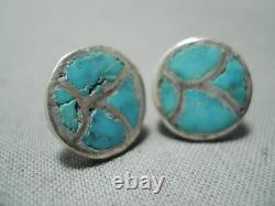 Early Vintage Zuni Turquoise Inlay Sterling Silver Earrings Old