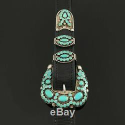 Early Vtg Virgil Dishta Zuni Native American Turquoise Sterling Silver Belt Set