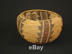 Early Yokuts Polychrome Degikup Basket, Native American Indian, Circa 1900