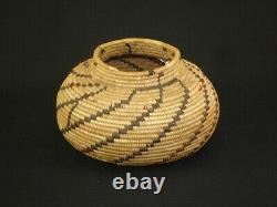 Early Yokuts polychrome bottleneck, Native American Indian Basket, c. 1895