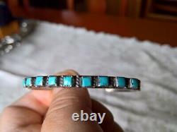 Early Zuni Blue Gem Turquoise & Sterling Row Cuff Bracelet