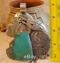 Early Zuni DAN NIETO Huge Turquoise Sterling Silver BUFFALO HUNTER Pendant 148gr