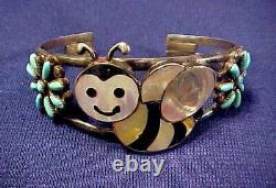 Early Zuni Most Charming Bumble Bee Inlay Turquoise Sterling Bracelet