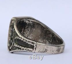 Early Zuni Native American Flush Inlay Turquoise Sterling Silver Ingot Mens Ring