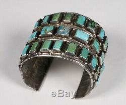 Early Zuni Pueblo Silver & Turquoise Bracelet-31 Hand-Cut Stones-Native American