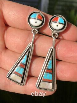 Early Zuni SUNFACE Sterling Silver Turquoise & Coral & Jet MOP Dangle Earrings