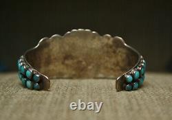 Early Zuni Vintage Native American Turquoise Ingot Sterling Silver Cuff Bracelet