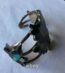 Early Zuni channel inlay Sterling Silver multi stone inlay bracelet with Kachina
