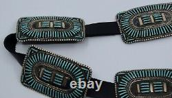 Early fine large needle point Zuni turquoise cluster Sterling silver concho belt