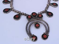 Early old Coral & sterling silver squash blossom Native American Navajo necklace