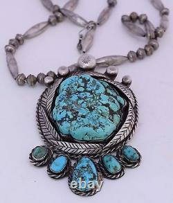 Early sterling silver unusual HUGE beads & foam Turquoise nugget Navajo necklace
