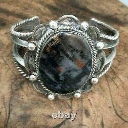 Early style Fred Harvey Navajo Black & Silver Petrified wood cuff Bracelet