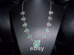 Early vintage hand hammered coin silver necklace. Mine cut turquoise