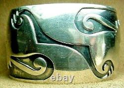 FINE EARLY OLD PAWN CLASSIC HOPI STERLING SILVER WIDE CUFF BRACELET HEAVY 73.6g