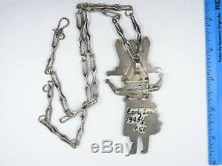 FINEST 40's EARLY ZUNI CHANNEL INLAY MAIDEN PENDANT STERLING NECKLACE 22 / 59g