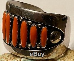 FINEST Early Frank Patania Thunderbird Shop Sterling Big Red Coral Cuff Bracelet