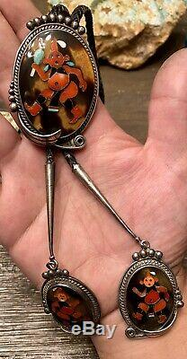 FINEST Early Zuni Large Sterling MudHead Kachina Bolo Tie Matching Tips A PINTO