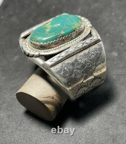 Fantastic Early Native American Indian Navajo SS Bracelet Large Green Turquoise