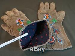 Fine Pair of Early 1900 Native American Plateau Beaded Gloves Umatilla Yakama