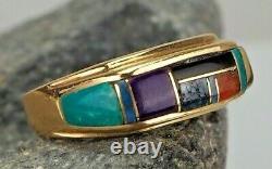 Gilbert Ortega! 18k Ring/sz 7 Mosaic Inlay Turquoise & Other Gemstones Zuni