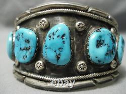 Huge Early Vintage Navajo Blue Turquoise Sterling Silver Bracelet Old
