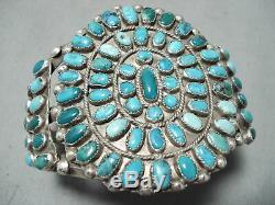 Huge Early Vintage Navajo Cerrillos Turquoise Sterling Silver Bracelet
