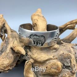 INCREDIBLE! Early PRESTON MONONGYE Hopi, Sterling Silver Overlay Bracelet