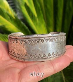Important Early 1920s First Phase Pawn NAVAJO Silver Ingot Cuff Bracelet 122g