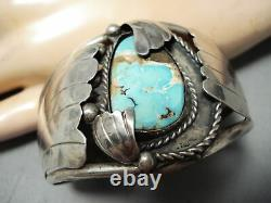 Important Early Chee Vintage Navajo Turquoise Sterling Silver Bracelet
