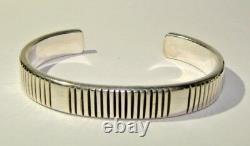 J. Curtis Jennifer Sterling Silver Early Hand Signed Cuff Bracelet Navajo