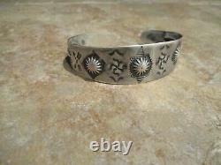 Large EARLY 1920's / 30's Navajo Sterling Silver WHIRLING LOG Repousse Bracelet