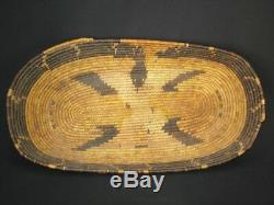 Large, Early Cahuilla Mission Snake Tray, Native American Indian basket, c1900