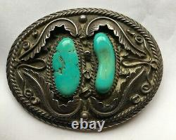 Large Early Navajo Silver & Turquoise Belt Buckle With Tee Pee Hallmark & 925
