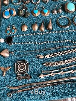 Lot Of Mexican, Native American Other Sterling Bracelets, Earrings, Rings & More