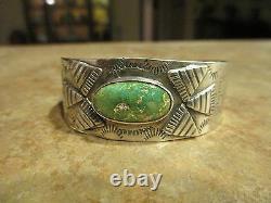 MARVELOUS EARLY Fred Harvey Era Sterling Silver Turquoise Appliqué Bracelet