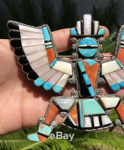 Massive Early Old Zuni Silver Turquoise Knifewing Kachina Bolo Brooch Pendant