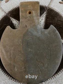 NATIVE AMERICAN CEREMONIAL GORGET, INDIAN STONE PENDANT VERY EARLY PRE 1800s