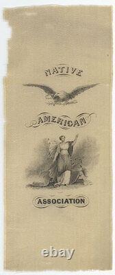 Native American Association Early Silk Ribbon Political