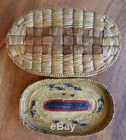 Native American Makah Basket Whaling Scene Early 20th Century Oval Shape