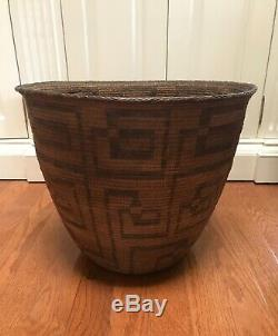 Native American Pima Basket Flared Rim Woven Reed Early 20th Century