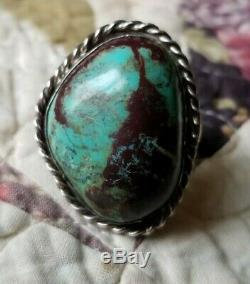Navajo Bisbee Turquoise Sterling Silver Ring early 1960's Size 10 Large Unsigned