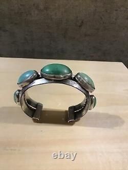 Navajo Bracelet Cuff Heavy silver pale green turquoise Early Pawn Ingot Old Vtg