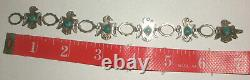 Navajo Early Bell Trading Sterling Silver Thunderbird turquoise link Bracelet