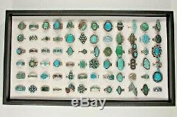 Navajo, Zuni & Other Sterling Silver Turquoise, Coral, Enamel Ring Collection