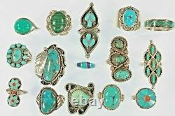 Navajo, Zuni & Other Sterling Silver Turquoise, Coral, Malekite Ring Collection