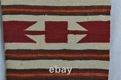 Navajo weaving rug mat wear 20x37 red gold brown white old original early 1900